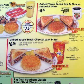 Waffle House Menu Waffle House Menu Bacon On The Grill Waffle House