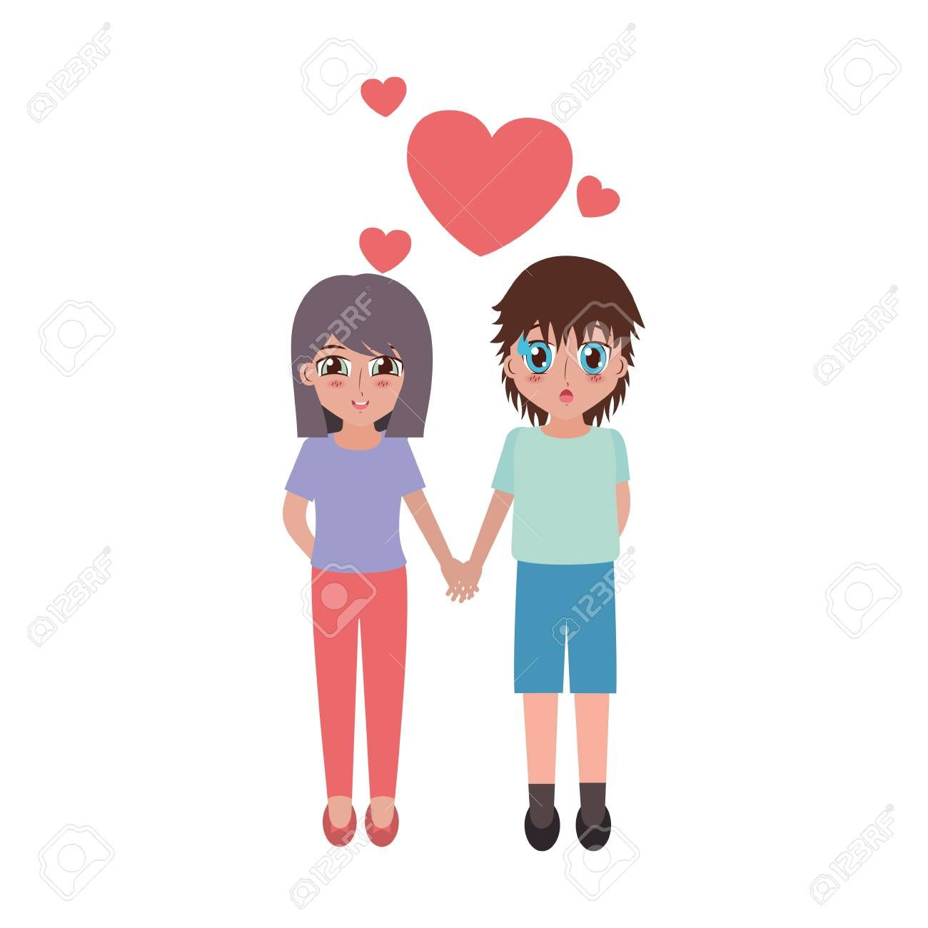 Girl And Boy Anime Love Hearts Vector Illustration Spon Anime Boy Girl Love Illustrati Branding Design Logo Brochure Design Inspiration Anime Love