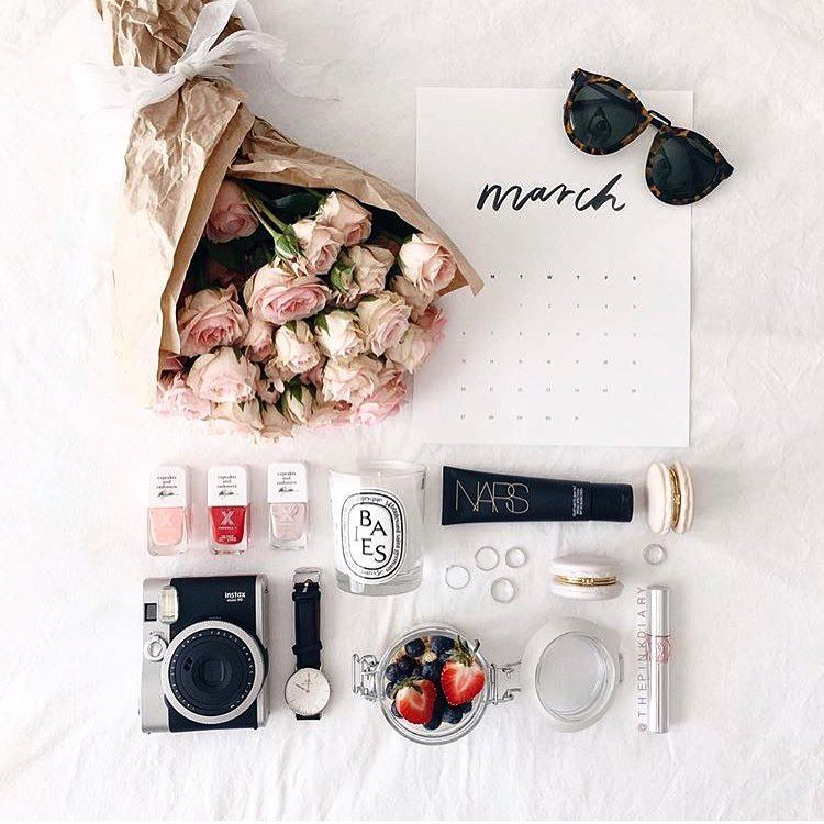 Color Coordinated Flatlay Fashion And Beauty Bloggers Instagram Inspiration Styled