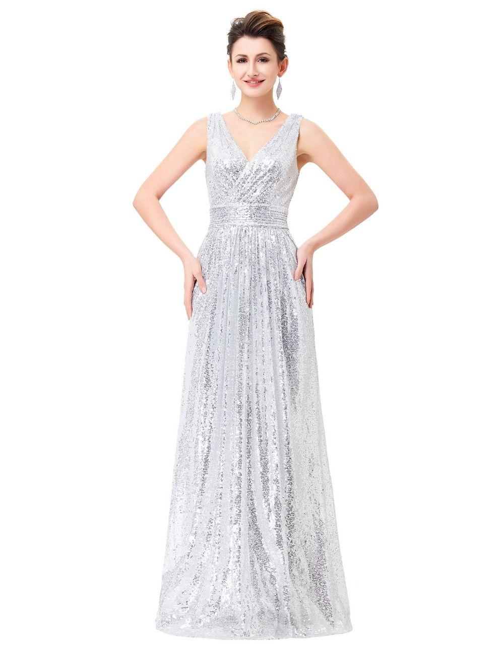 58bebb5ba Encontrar Más Vestidos de Noche Información acerca de Luz de plata oro rosa  de oro vestidos noche 2016 Sexy cuello en V una línea de lentejuelas Gala  Dress ...