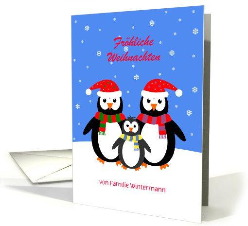 E Cards Weihnachten.Frohe Weihnachten Penguin Family Custom Text Christmas Card German