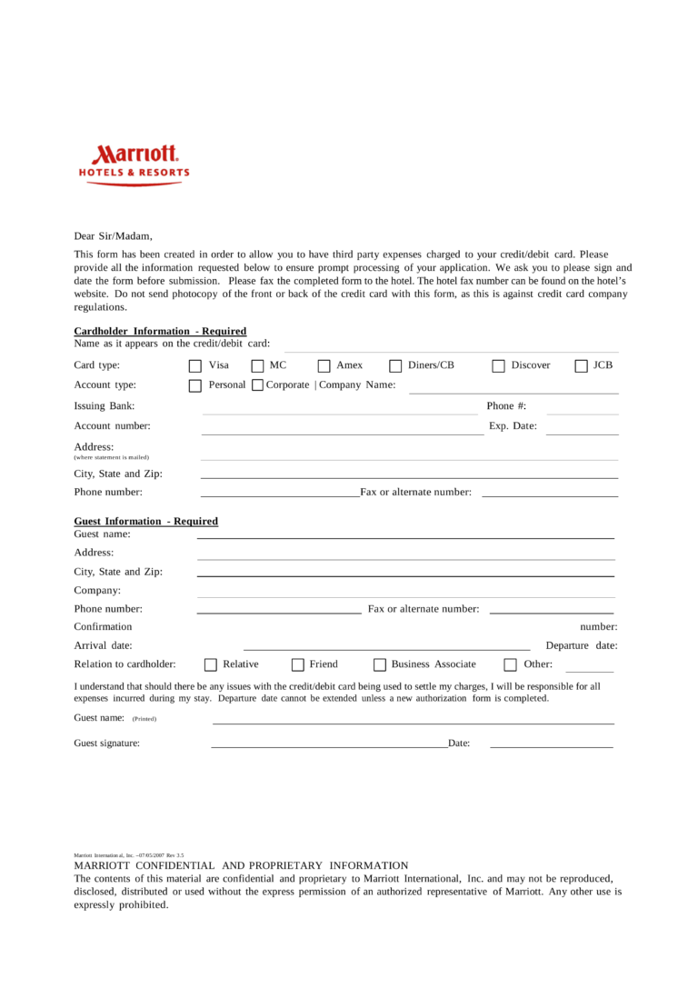 Free Marriott Credit Card Authorization Form Pdf Eforms For Hotel Credit Card Authorization Form Template Hotel Credit Cards Credit Card Best Templates