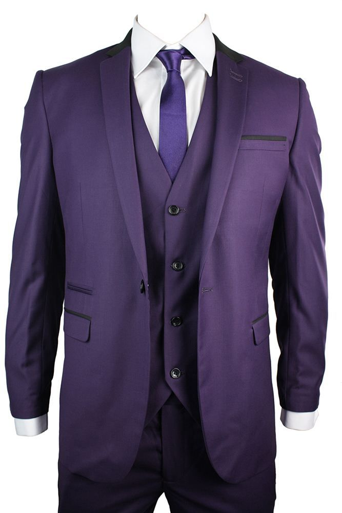 Mens Slim Fit Purple 3 Piece Suit Black Trim Work Occasional or ...