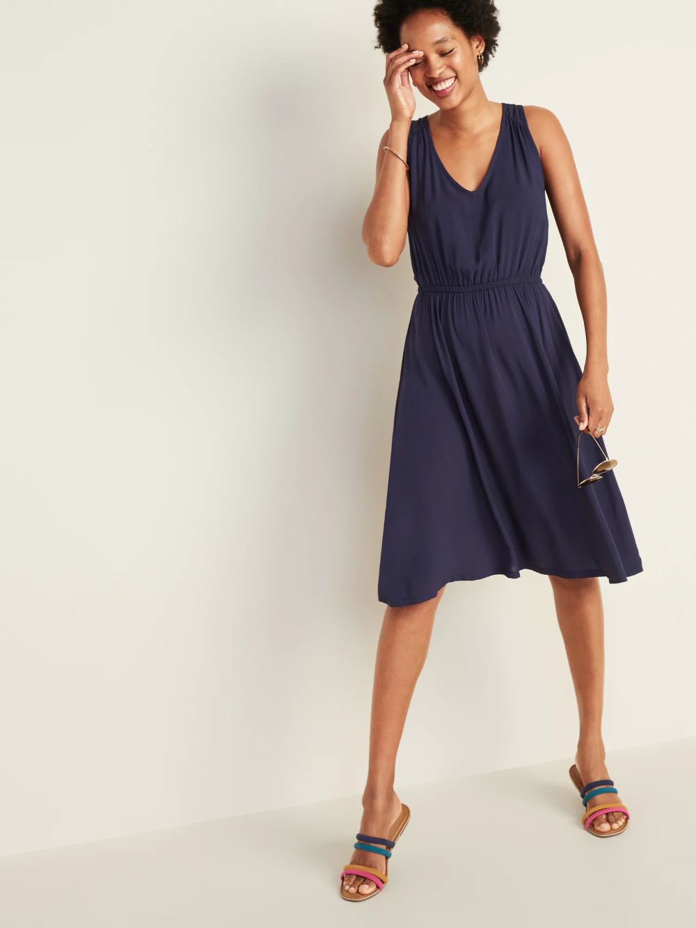 Waist Defined V Neck Sleeveless Dress For Women Old Navy Womens Dresses Sleeveless Dress Dresses [ 1333 x 1000 Pixel ]