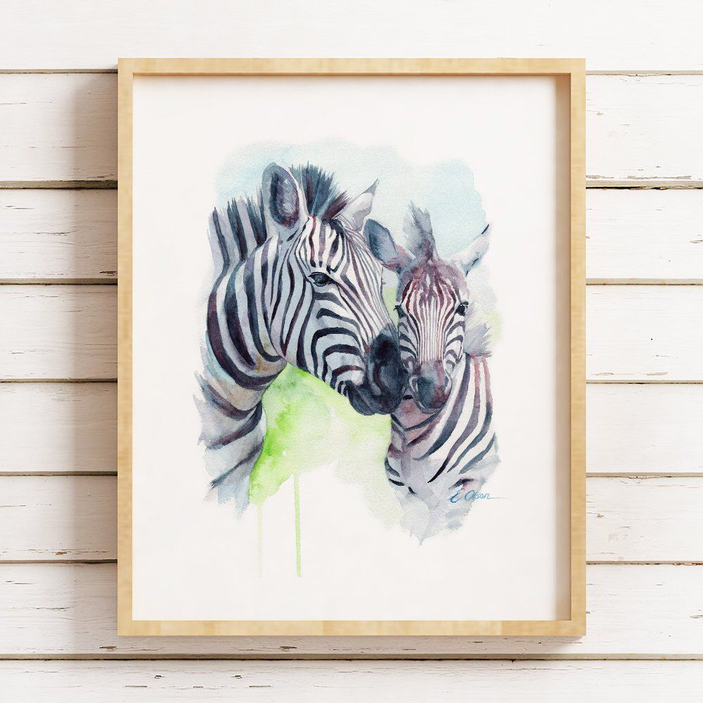 Decoration Peinture Zebre Watercolor Zebra Mom And Baby Zebra Nursery Wall Art Printable
