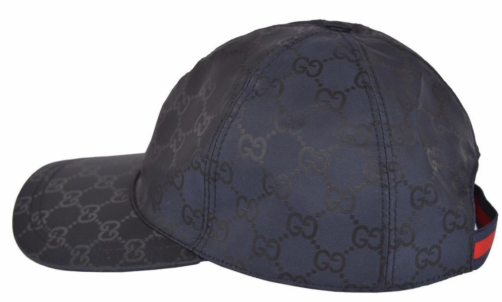 NEW Gucci Men s 387578 BLUE Nylon GG Guccissima Web Stripe Baseball Cap Hat  S… ed3af4b6f567