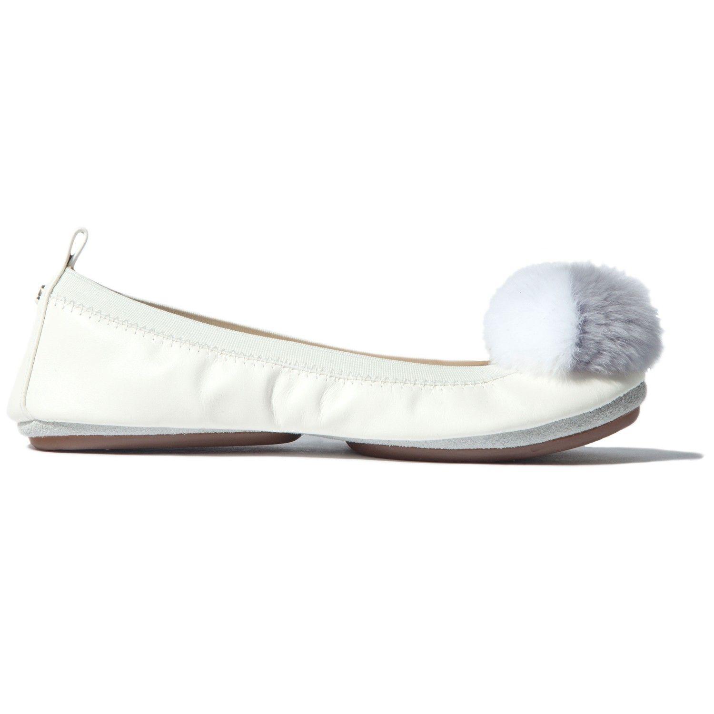 Samara Fur Pom Pom Alsina Leather In White