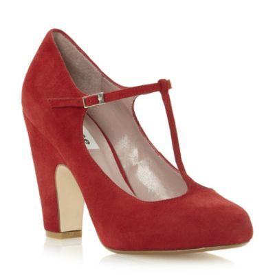 DUNE LADIES Red ANTINA - T-Bar Block Heel Court Shoe | Dune Shoes Online