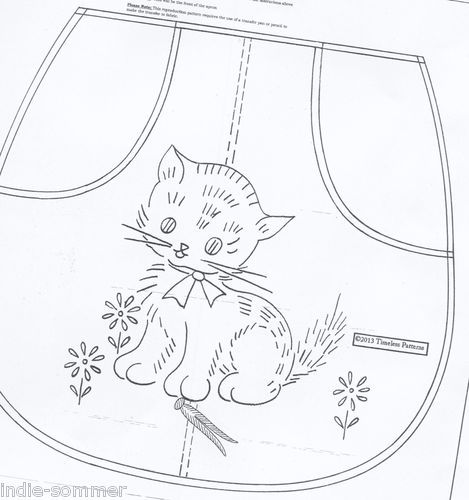 Vintage Embroidery Cat Clothes Pin Apron Pattern Transfer or ...