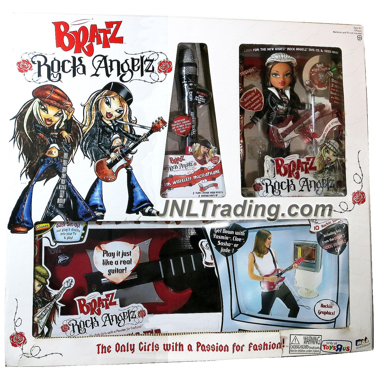 MGA Entertainment Bratz Rock Angelz Series 10 Inch Doll Set - YASMIN with Guitar, Microphone, Poster, FM Wireless Microphones & TV Games Rock Guitar