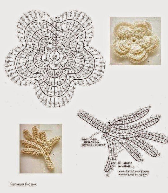 Bolso tejido al crochet con apliques florales realizados en crochet ...