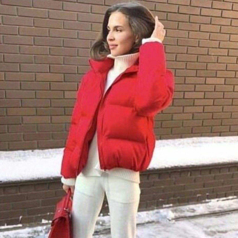 Stand Up Puffer Short Jacket W T I Design Red Puffer Jacket Padded Coat Women Short Outerwear [ 1500 x 1500 Pixel ]