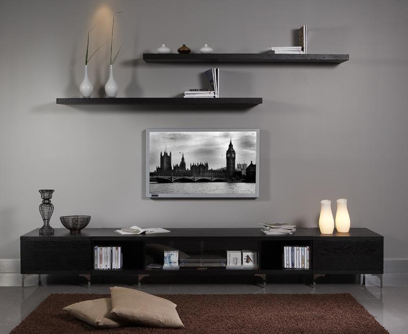 Two Shelves Above Tv Decorative Items Beside Tv Modern