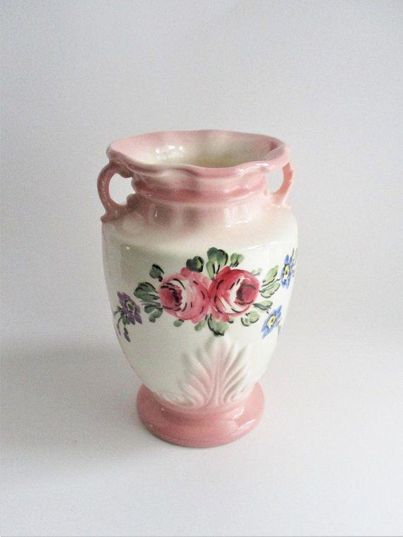 Vintage Vase Pink White Rose Floral Spray Ornate Vase Embossed