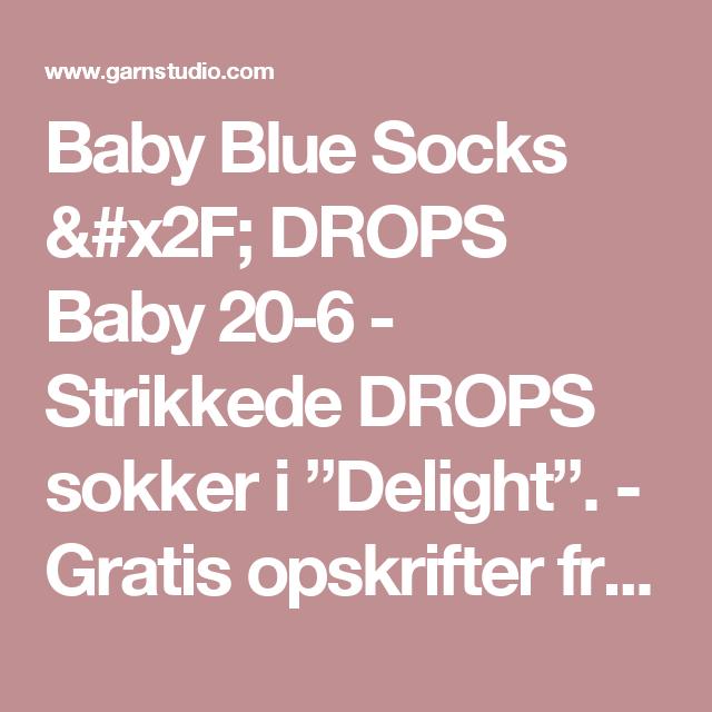 """Baby Blue Socks / DROPS Baby 20-6 - Strikkede DROPS sokker i """"Delight"""". - Gratis opskrifter fra DROPS Design"""