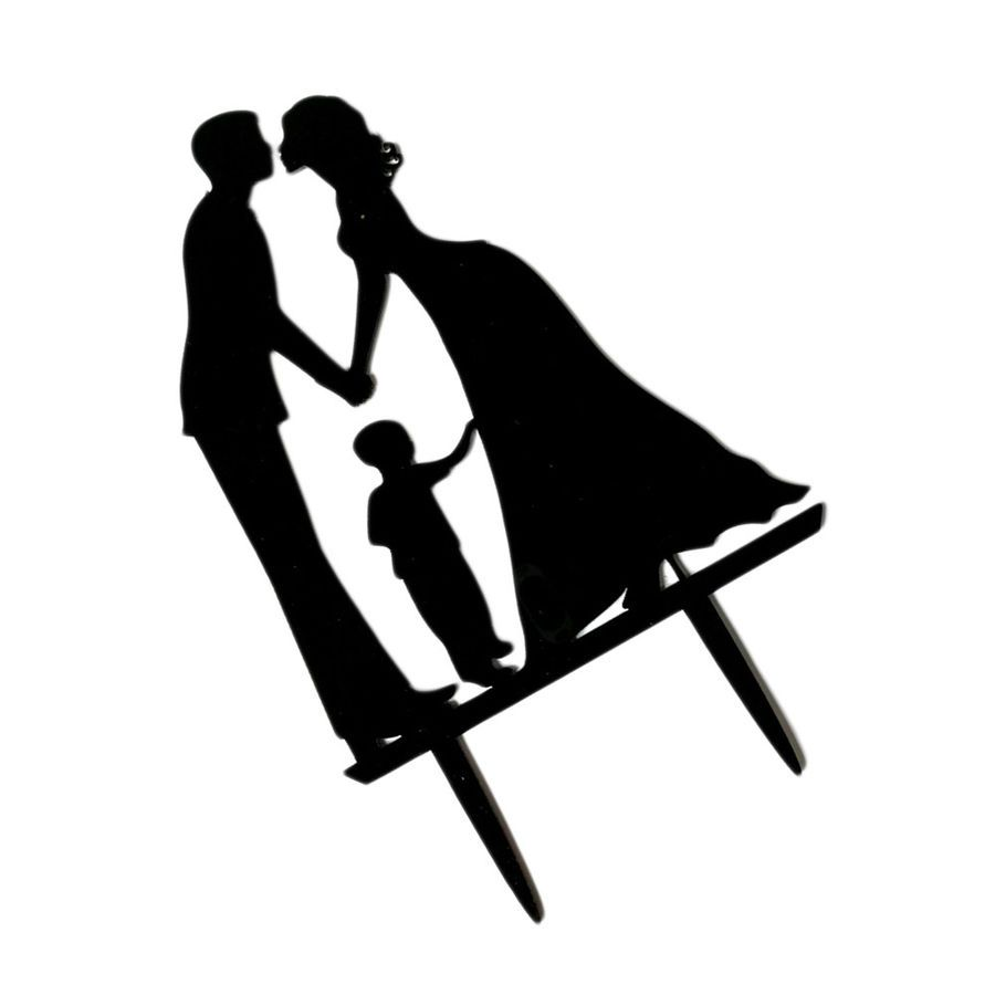 1pc Acrylic Wedding Cake Toppers Bride And Groom With Children For