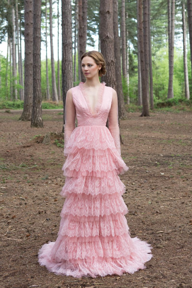 Eartha Wedding Dress- Playful soft pink, french lace eco-friendly ...
