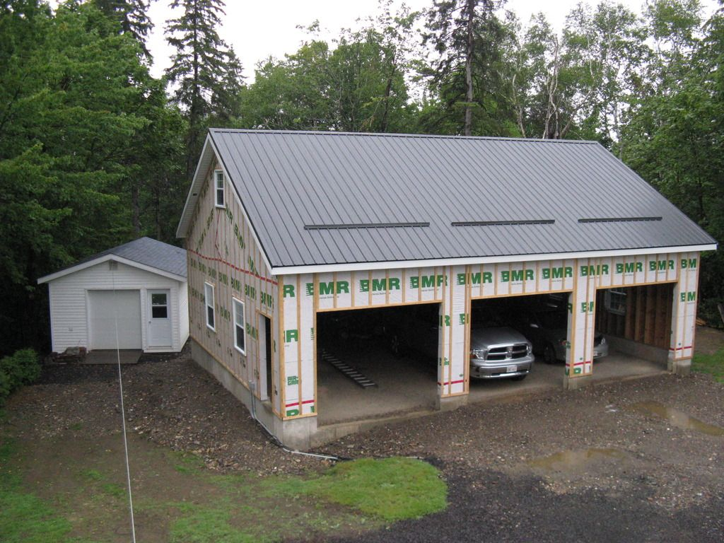 My summer project 30 x 40 three car garage the garage for Pole barn shop plans