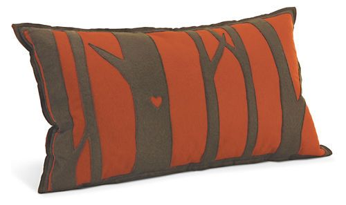 Tree orange olive pillow pillows accessories room for Room and board pillows