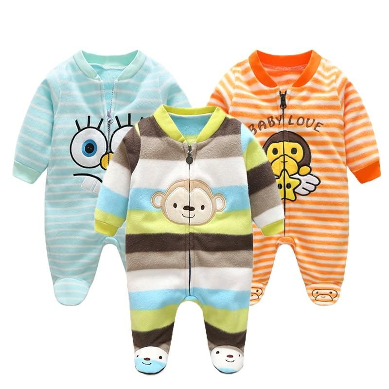 3m 12m Infant Footies Newborn Baby Boys Girls Winter Clothes Colorful 100 Cotton Character Cloth Baby Girl Clothes Winter Baby Boy Clothes Newborn Boy Outfits