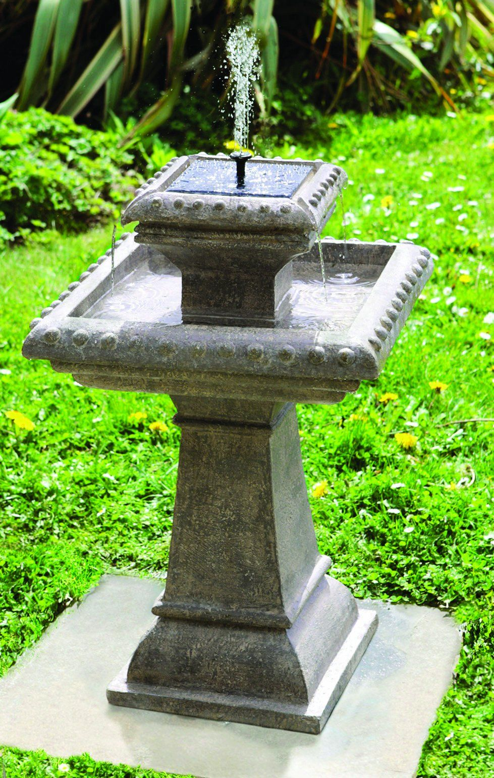 Pizzaro Solar Bird Bath Water Feature With Lights (H80cm) by Solaray ...