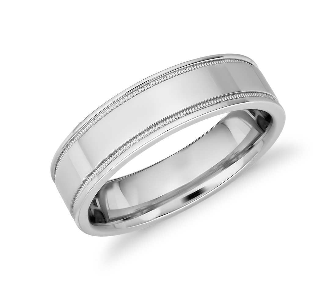 Monique Lhuillier Milgrain Inlay Polished Band In Platinum 6mm Blue Nile Mens Wedding Bands Blue Mens Wedding Rings Platinum Wedding Ring Diamond Band
