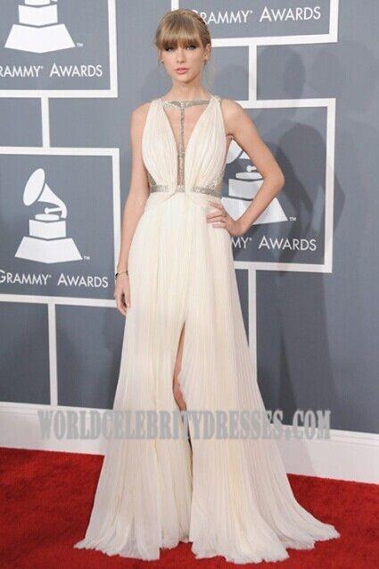 Celebrity Dresses Taylor Swift White Prom Dress Grammys 2013