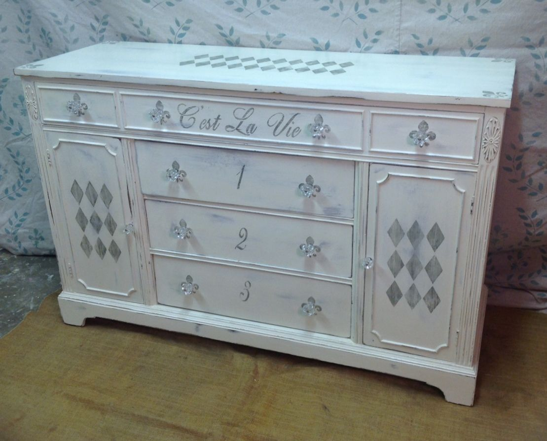 The Art Gallery Vintage chalk painted stenciled French sideboard Baby ChangingShabby Chic BathroomsSideboardBathroom VanitiesPainted FurnitureDresserConvenient
