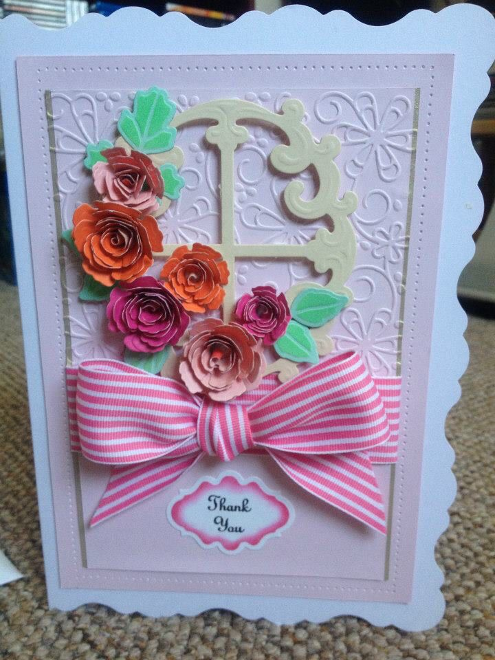 Thank you card using heartfelt creation dies, Spellbinders blossom dies