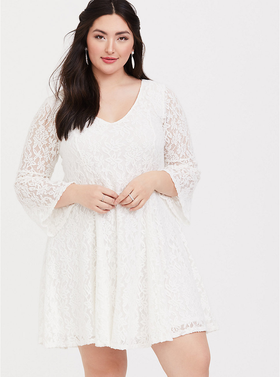 Ivory Lace Bell Sleeve Trapeze Dress in 2020 Dresses