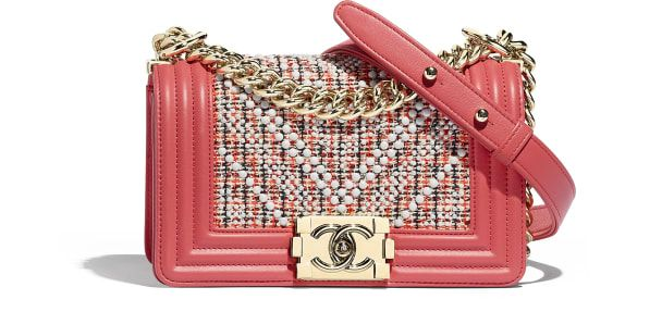 3a2316d8c81c Small BOY CHANEL Handbag, embroidered tweed & gold-tone metal., red, ecru,  navy blue & coral. - CHANEL