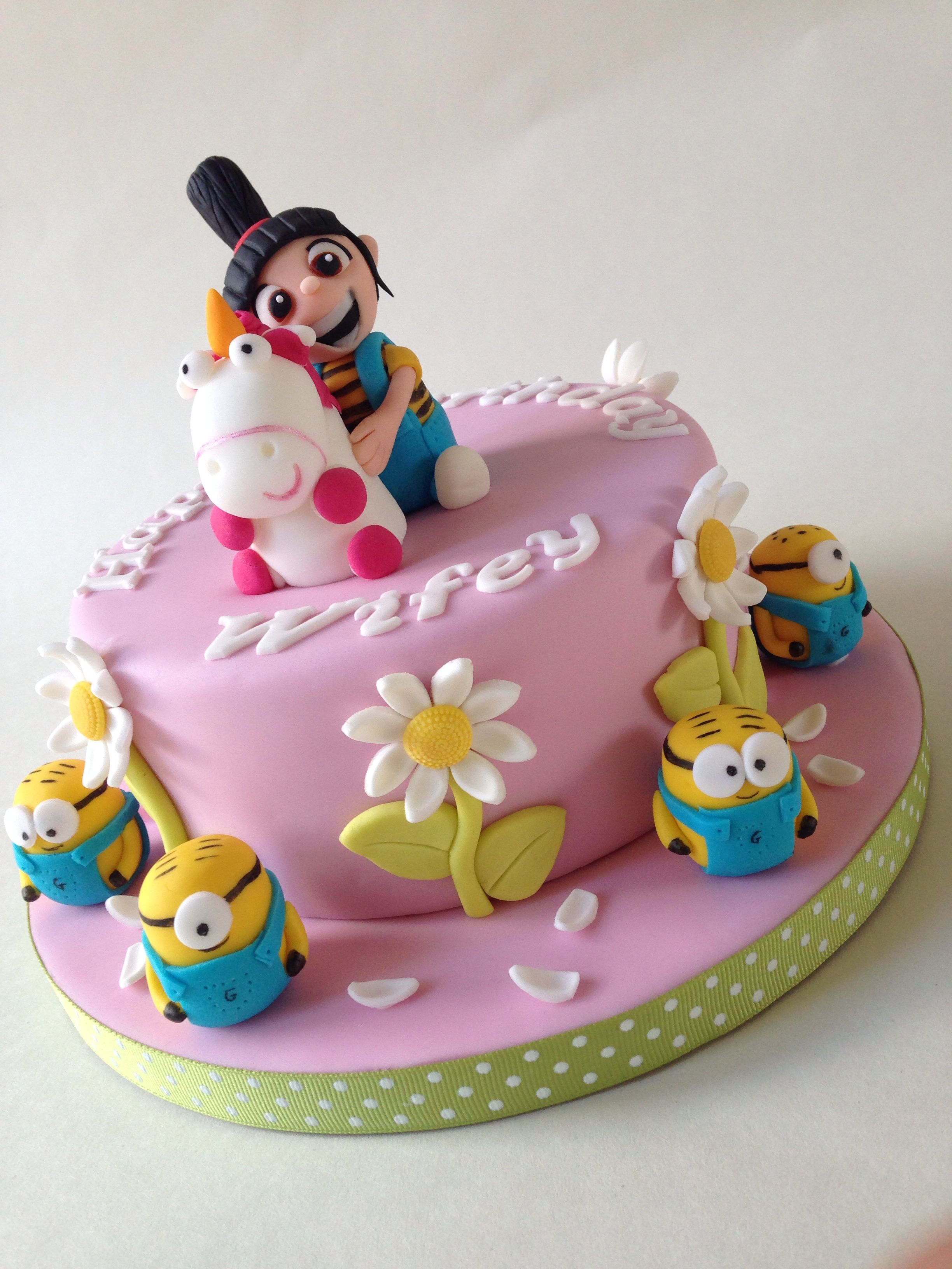 Despicable Me Cake Topped With Agnes And Her Unicorn And