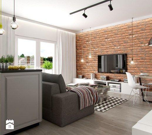 Aranzacje Wnetrz Salon Industrialne Mieszkanie Maly Salon Z Kuchnia Z Jadalnia Styl Living Room And Dining Room Design Brick Living Room Living Room Loft