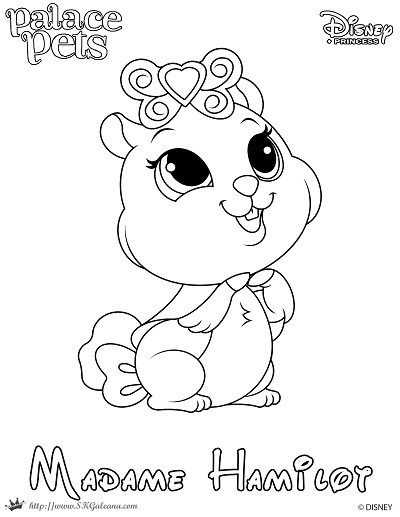 Free Coloring Page Featuring Madame Hamilot From Disneys Princess Palace Pets