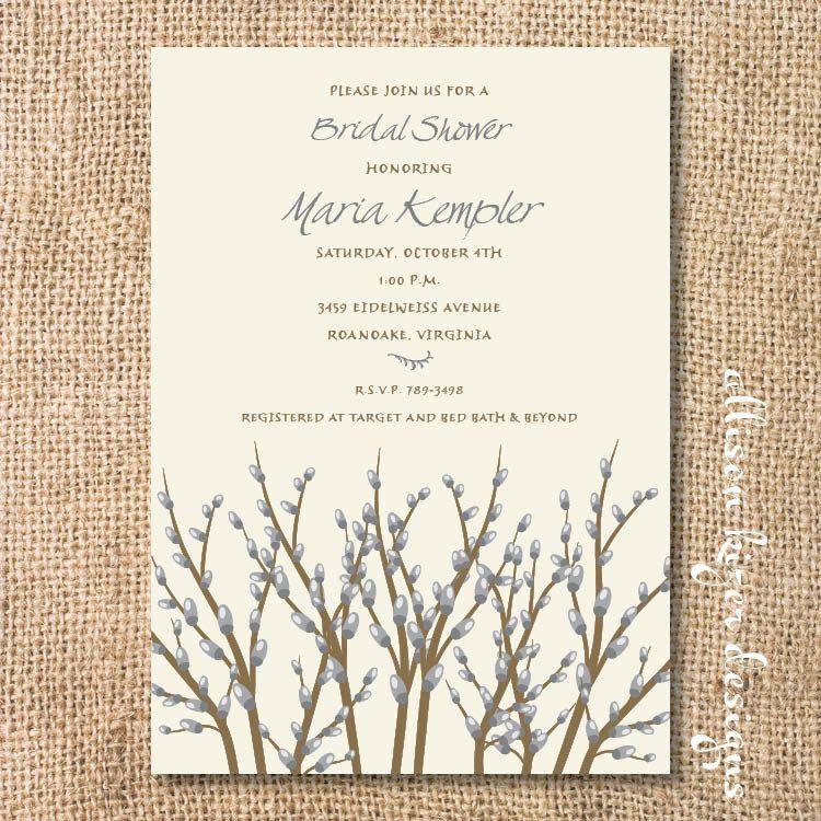 Winter Branches Printable Invitation. $16.00, via Etsy.