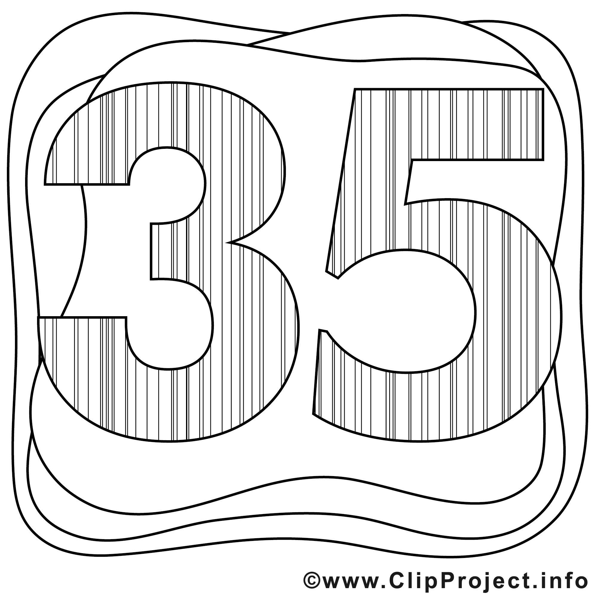kostenlos herunterladen Zahl 35 zum Ausmalen bedruckbar und ausdrucken Malvorlagen für Kinder Erwachsene Jugendliche