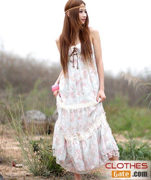 Korean ladies luxury silk-Floral Lace Dress bohemian dress ...
