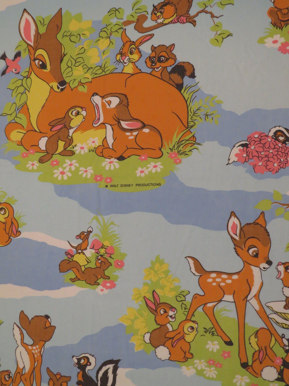 Vintage Bambi Twin Flat Sheet Disney From Sheetthebed Flat