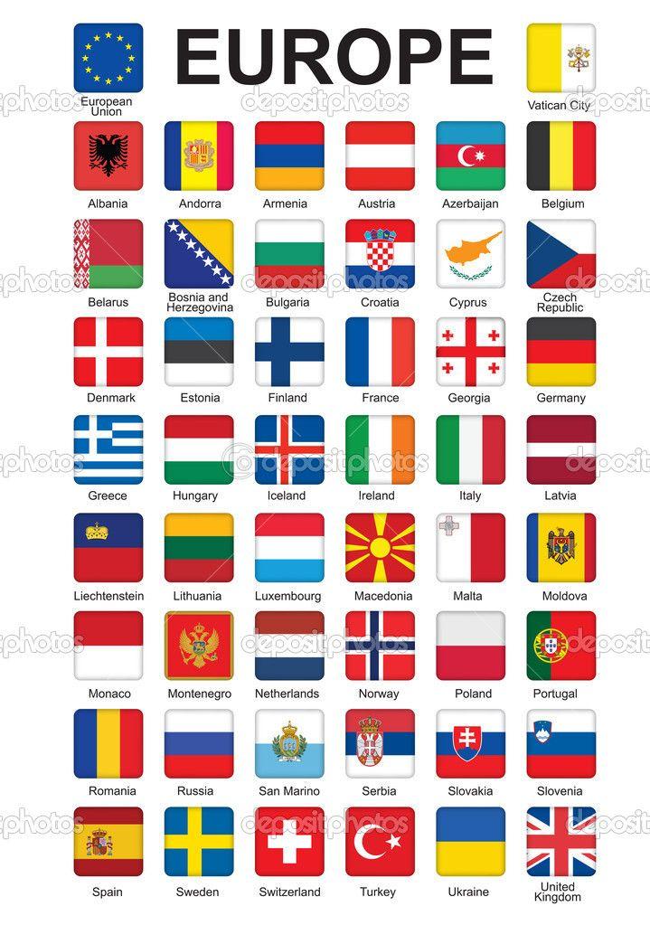 Banderas De Europa Botones Con Banderas De Europa Vector De Stock Romantiche Banderas De Europa Banderas Europa Banderas Europeas