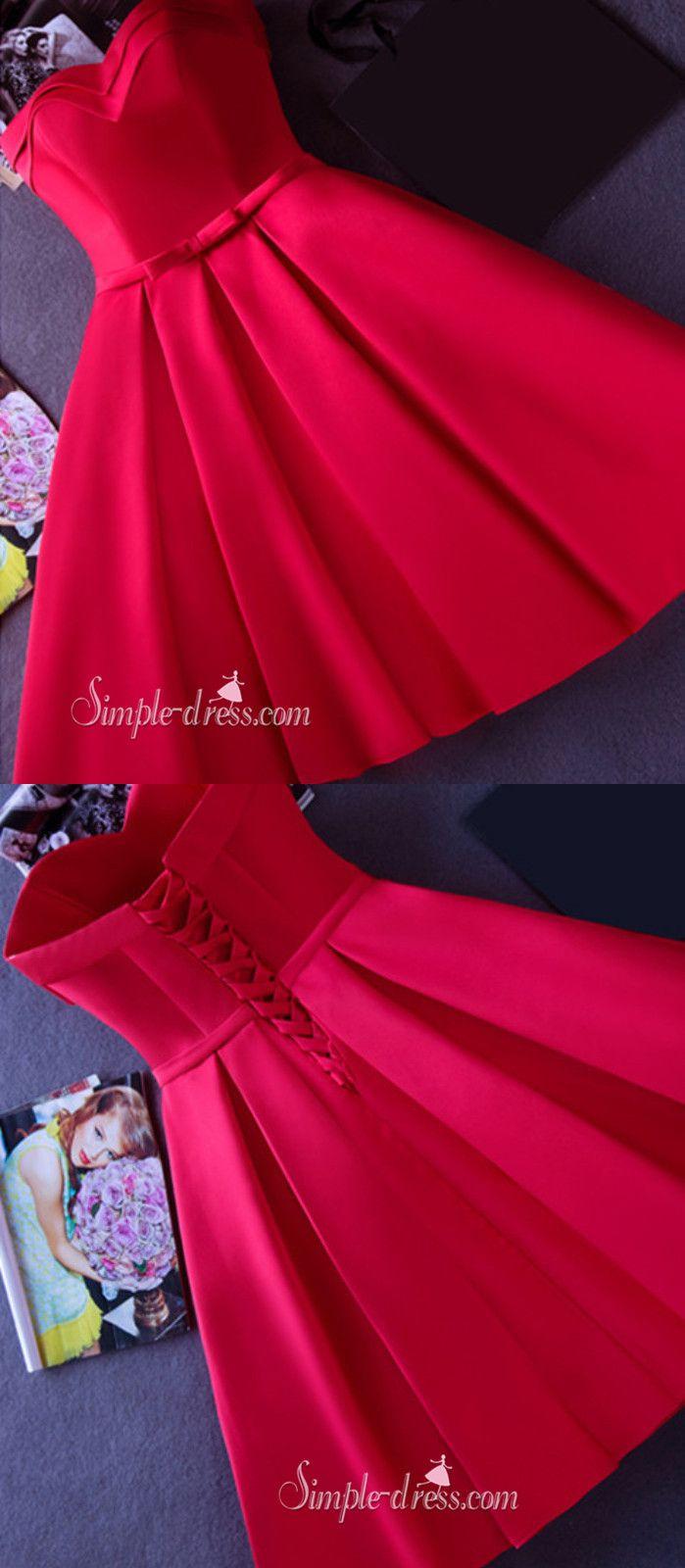 Strapless red kneelength short ribbon prom dresshomecoming dress