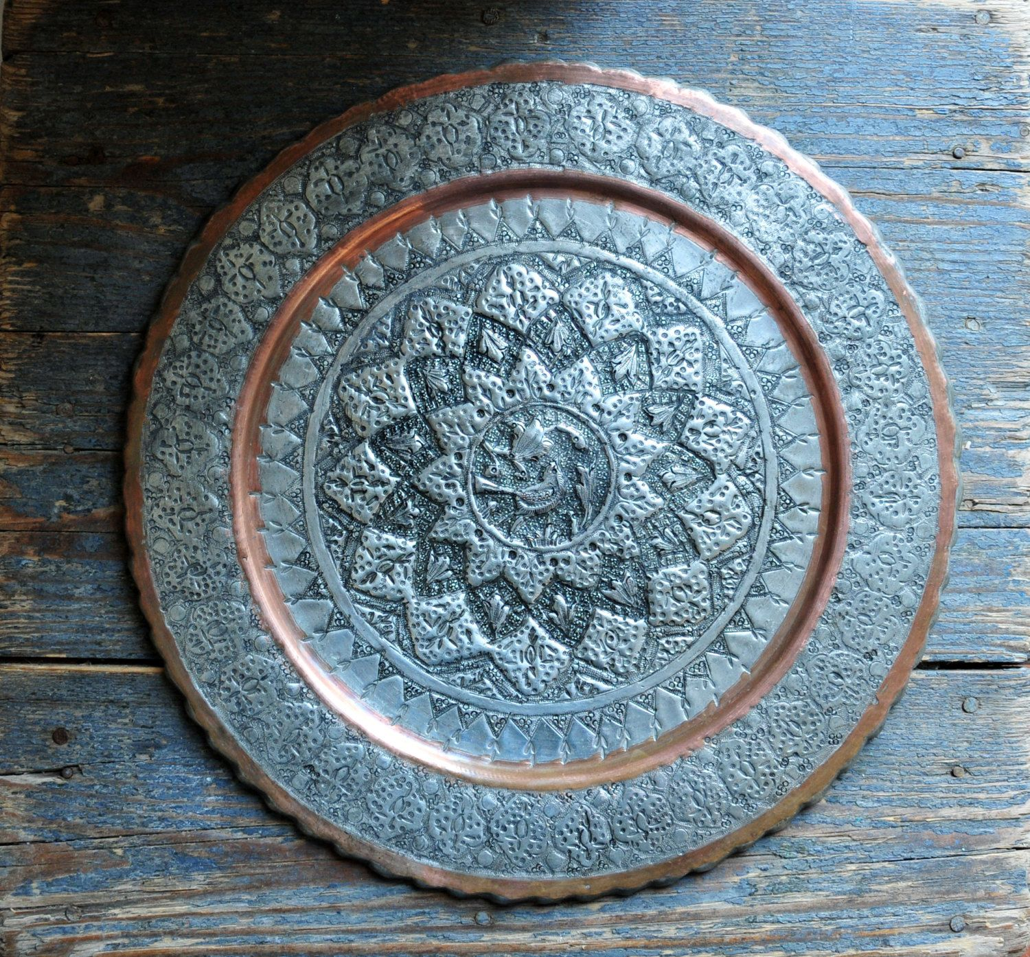 Reserved For Teresa Etched Oriental Wall Plate Decorative Tray Bird Round Metal Boho Decor