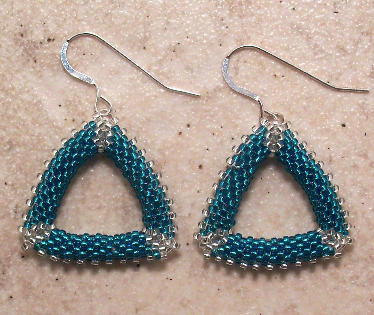 Blue and Silver Triangle Beaded Earrings Free Shipping USA on The CraftStar