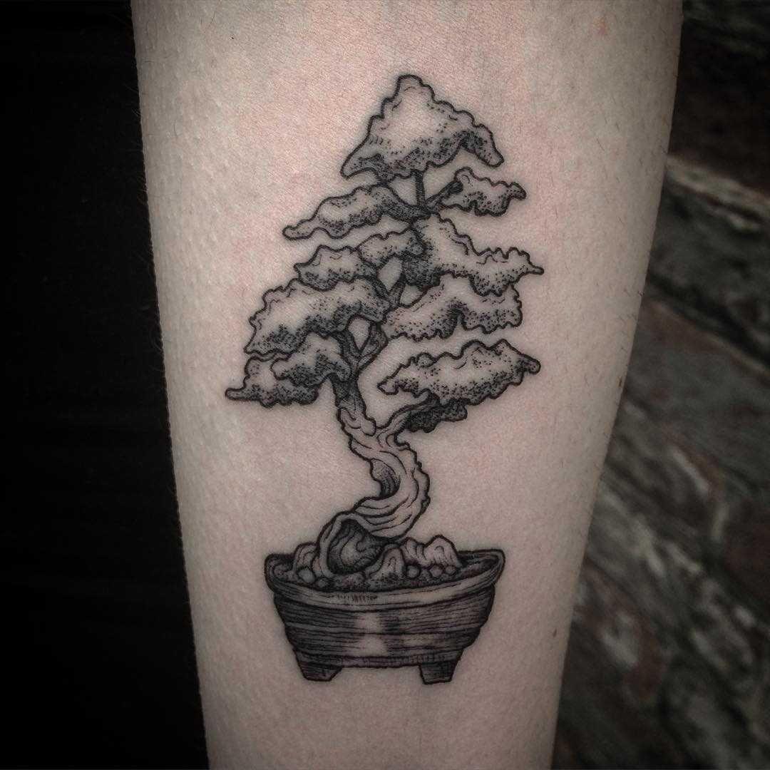 Bonsai Tattoo Meaning: Dot-work Bonsai Tree Tattoo On The Forearm
