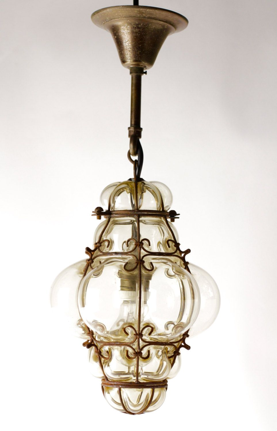 Vintage Blown Glass Lantern Or Bohemian Pendant Light
