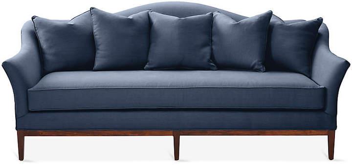 One Kings Lane Eloise Camelback Sofa Navy Linen