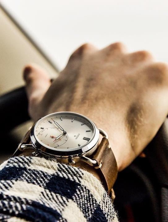 Hybrid Smartwatch Commuter Dark Brown Leather Wrist Watch