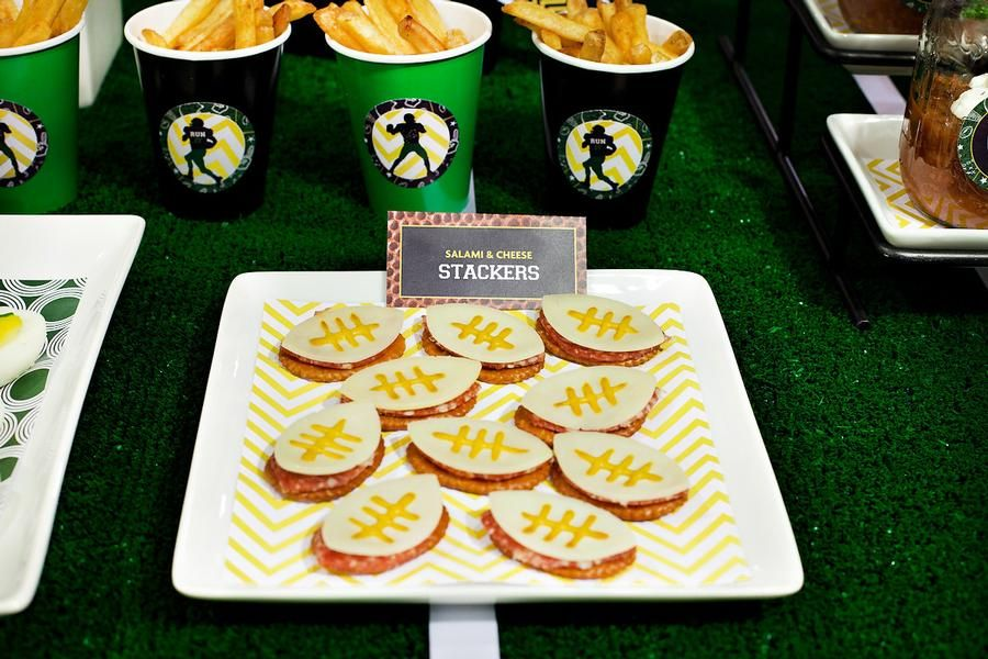Salami and Cheese Stackers Food Football theme