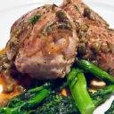 Pistachio-Crusted Pork Scaloppine with Mango Shrimp