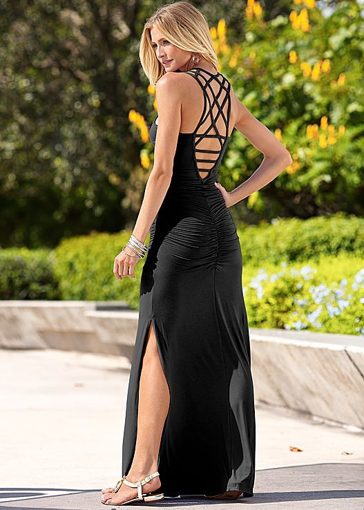 Black #maxi #backless summer #prom dress. women fashion outfit clothing style apparel @roressclothes closet ideas