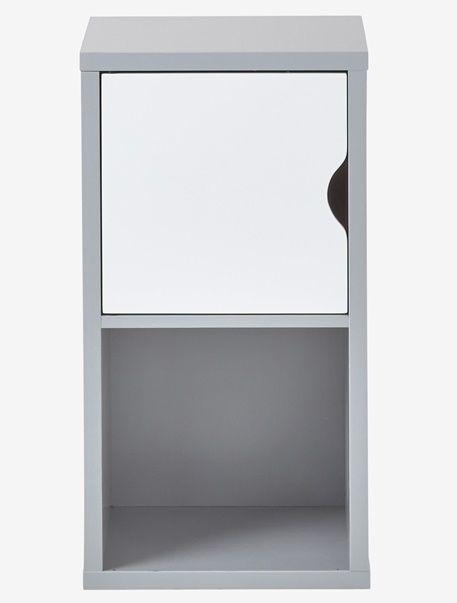 Mueble de almacenaje 2 casilleros - Blanco+Gris - 9